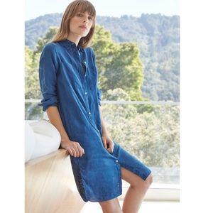 Everlane indigo blue linen button up shirt dress